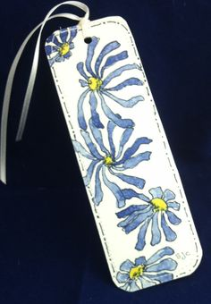Watercolor Bookmark of Blue Daisies by Wildflowerhouse on Etsy