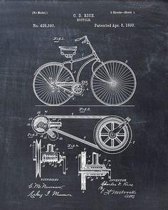 Impresión de patente de una bicicleta patente impresión del arte Poster patente moto