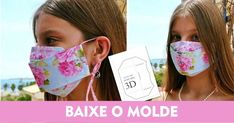 Máscara 3D de tecido passo a passo com molde Easy Face Masks, Diy Face Mask, Colchas Quilting, 3 D, Mascara 3d, Sewing Projects, Projects To Try, Pattern Cutting, Diy Mask
