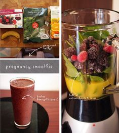 Pregnancy smoothie to make sure your little one gets his or her vitamins! - The recipe is pretty simple - about a cup of orange juice, a handful of frozen berries, one banana and a heaping handful or two of spinach (you won't taste it, promise! Juice Smoothie, Smoothie Drinks, Healthy Smoothies, Healthy Drinks, Smoothie Recipes, Healthy Snacks, Healthy Eating, Healthy Recipes, Superfood Smoothies