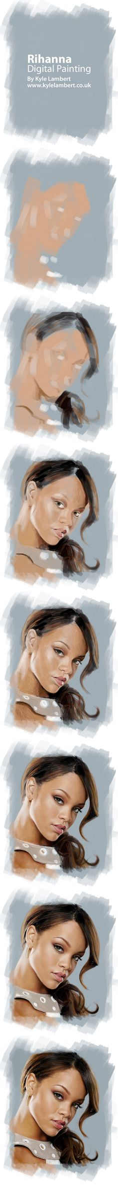 Rihanna Digital Painting by Kyle Lambert