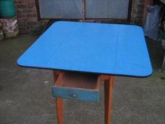 Blue formica wooden kitchen table, vintage, retro, 50s in Home, Furniture & DIY, Furniture, Tables | eBay