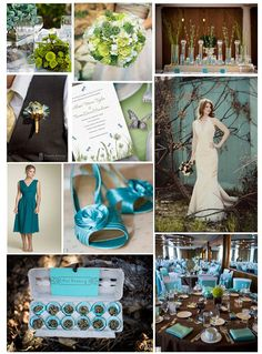 chocolate table cloth + moss ball center piece + teal napkins + white chairs with teal sashes