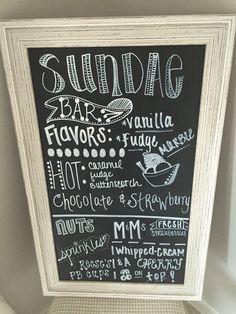 Ice cream sundae bar sign
