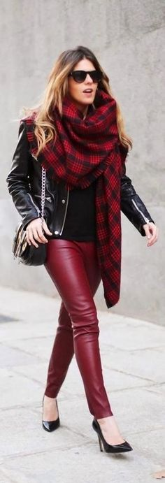 Women's Dark Brown Sunglasses, Red Plaid Scarf, Black Leather Biker Jacket, Black Leather Crossbody Bag, Black Long Sleeve T-shirt, Burgundy Leather Leggings, and Black Leather Pumps