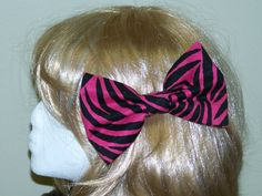 Large Fabric Hair Bow Pink and Black Animal by HairBowAplenty