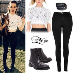 Perrie Edwards posted a picture on instagram wearing a Lace of Life White Crop Top (£20.00), the Topshop Moto Black Leigh Jeans ($65.00), an American Apparel Basic Leather Belt ($15.00) and her Kurt Geiger Spencer Boots (Sold Out).