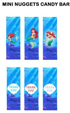 mini nugget wrappers Mermaid Theme Birthday, Little Mermaid Birthday, Little Mermaid Parties, Ariel The Little Mermaid, Birthday Decorations, Birthday Ideas, Princess Party, Disney Princess, Party Printables