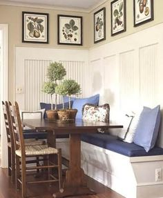Built-in dining room seating -- one house has small dining area & my current table is BIG... would like to do something like this with storage underneath possibly