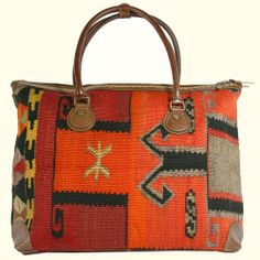 As featured by the LA Times! Kilim handbags, backpacks, and luggage made from vintage Turkish kilims, available at www.rugandrelic.com