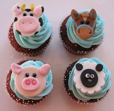farm animal cupcakes. too cute!: