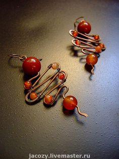 Handmade earrings. Fair Masters - handmade copper earrings with carnelian. Handmade.
