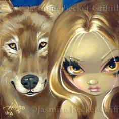 Faces of Faery 94 wolf werewolves dogs big eye fairy face art print by Jasmine Becket-Griffith 6x6