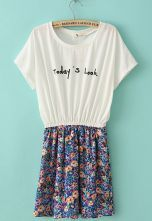 White Short Sleeve Todays Look Print Floral Dress $23.11