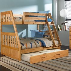 Twin over Full Bunk Bed with Twin Trundle, could be made into drawers instead for storage. This would be perfect!!!!