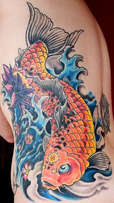 Beautiful Koi Fish Tattoo on Rib
