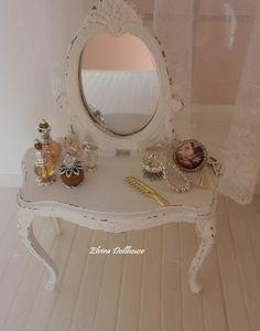 Shabby Dressing Table , Dollhouse Miniature Handmade, 1:12 Scale Dolls House
