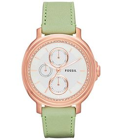 Fossil Watch, Women's Chelsey Light Green Leather Strap 39mm ES3357 - Watches - Jewelry & Watches - Macy's