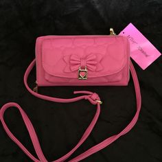 Betsey Johnson Betsey Johnson Crossbody bag/ new with tag/ heart pink color/ front phone slot/ leather material/ msrp$75 Betsey Johnson Bags Crossbody Bags