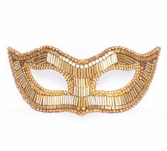 Handmade Venetian style masquerade mask. Front side is completely covered with gold beads. Base mask is made of thick cardboard. Ribbons will be added
