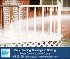 http://kansascity.renewcrewclean.com – The deck cleaning process begins with Renew Crew's proprietary cleaning solution to loosen dirt and mildew. This solution is sprayed on and is 100% safe to your plants, kids and pets. We serve Kansas City plus Johnson County KS including Overland Park, Olathe, Shawnee, Lenexa and Leawood. Free estimates.