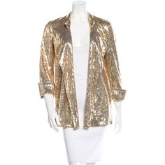 Pre-owned Diane von Furstenberg Sequined Open Front Blazer ($95) ❤ liked on Polyvore featuring outerwear, jackets, blazers, gold, diane von furstenberg jacket, brown blazer, gold blazer jacket, open front jacket and diane von furstenberg blazer