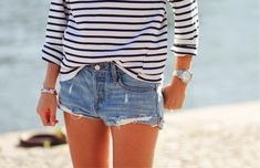 Denim shorts + stripes