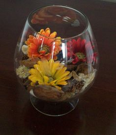Colorful Daisy Flowers Centerpiece in Vintage Princess House Crystal Brandy Shaped Vase. $24.00, via Etsy.