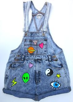 Denim Jean Overalls with Iron-On Patches // Aliens and Eyes, oh my!