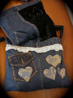 Upcycled Denim bolso bolso del dril de algodón por GrandmaDede