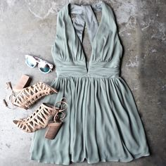 Lost valley deep plunge dress in olive