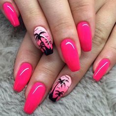 Tropical nails are what everyone needs when summer comes. That is why to freshen up your nail art patterns collection we are going to share with you a complete set of easy tropical nail designs that are going to be on edge this year! Tropical Nail Designs, Tropical Nail Art, Beach Nail Designs, Hawaiian Nail Art, Bright Nail Designs, Palm Tree Nails, Nails With Palm Trees, Nail Designs Pictures, Pedicure Nail Art