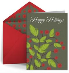 16 Places to Find Fabulous and Free Christmas Ecards: Holly Branch and Berries by Punchbowl