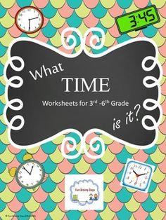 Time worksheet for 3rd-6th Grade $7.00