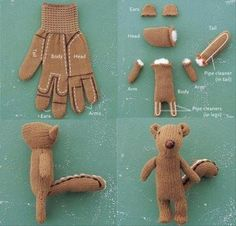 a how to make a stuffed animal from a glove