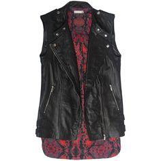 VAGUE Black Real Leather Biker Vest ($210) ❤ liked on Polyvore featuring outerwear, vests, shirts, biker vest, leather waistcoat, leather vest, vest waistcoat and genuine leather vest