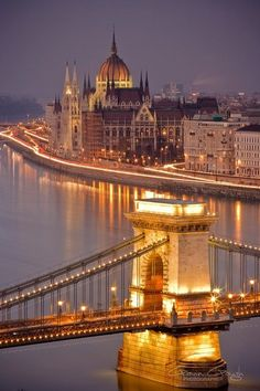 Fancy - View of the Szechenyi Chain Bridge and Parliament building on the river Danube in Budapest, Hungary