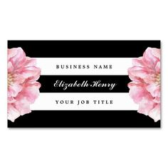 Floral Chic Business Cards. I love this design! It is available for customization or ready to buy as is. All you need is to add your business info to this template then place the order. It will ship within 24 hours. Just click the image to make your own!