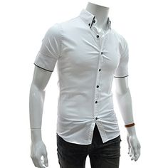 (EVSS16-WHITE) Slim Fit Pin Stripe Patched Stretchy Short Sleeve Shirts