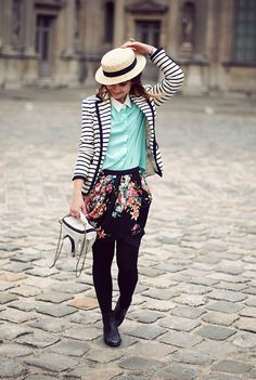 Get this look: http://lb.nu/look/3406227  More looks by Valentine Hello: http://lb.nu/hellovalentine  Items in this look:  Etam Boater Hat, Queen's Wardrobe Mint Shirt, Zara Floral Skirt, Zara Striped Jacket, Kipling Camera Case