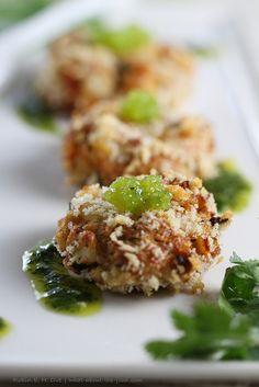 Crab Cakes with Lime Cilantro Aioli & Wasabi Caviar     ai·o·li (-l, --) A rich sauce of crushed garlic, egg yolks, lemon juice, and olive oil. Can sub. plain Wasabi