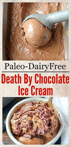 This Paleo Death By Chocolate Ice Cream is rich, creamy, and so delicious! 7 simple ingredients and a little hands on time for a treat that is so good you won't be able to tell it's healthy. Dairy free, naturally sweetened and gluten free.
