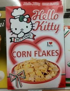 Hello Kitty cornflakes. Can they make HK Cookie Crisp???