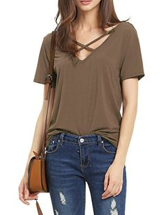 Match Womens Casual Short Sleeve Solid VNeck TShirt Tops 137 CoffeeXLarge *** You can find out more details at the link of the image.  This link participates in Amazon Service LLC Associates Program, a program designed to let participant earn advertising fees by advertising and linking to Amazon.com.