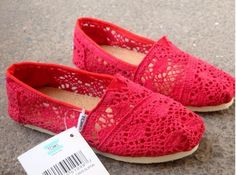 Toms Crochet Shoes Red Womens Classic