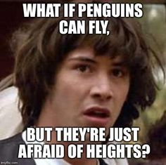 Conspiracy Keanu | WHAT IF PENGUINS CAN FLY, BUT THEY'RE JUST AFRAID OF HEIGHTS? | image tagged in memes,conspiracy keanu | made w/ Imgflip meme maker