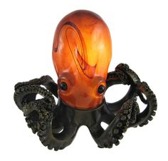 Swirled Amber Glass Octopus Accent Lamp Bronzed Base - Amazon.com