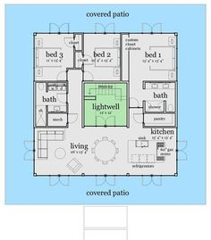 Center Courtyard House Plans with 2831 square feet this is one of