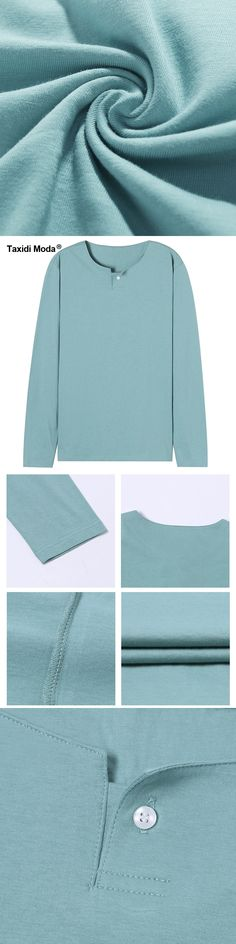 Taxidi Moda New Autumn Mens Casual T Shirts Button Green Color Brand Clothing Man's Long Sleeve Slim Fit T-Shirts Tops Tees 1701