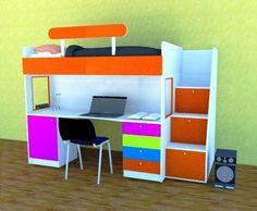 camarote con escalera cajonera, cama alta, cubierta escritorio, cajonera y estante bajo